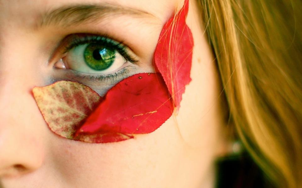 badfon.ru - autumn leaves girl