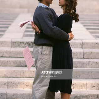 French actors Vincent Lindon and Sophie Marceau on the set of the film L'Etudiante, directed by Claude Pinoteau. (Photo by Jerome Prebois/Kipa/Sygma via Getty Images)